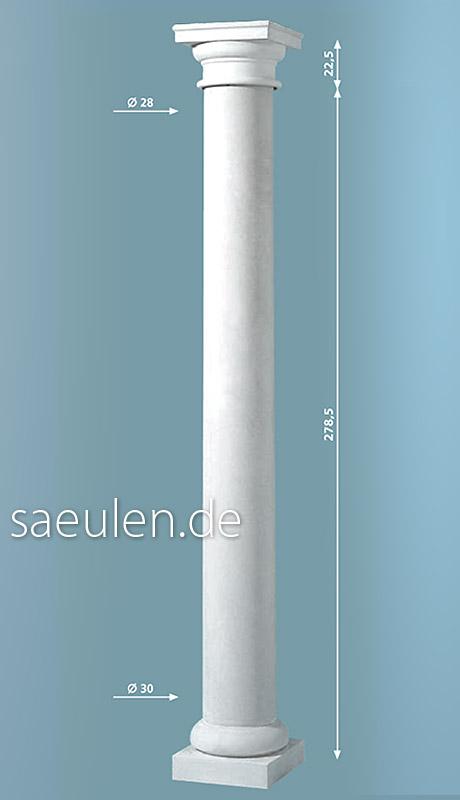 3 Meter Säule, rund, glatt, konisch